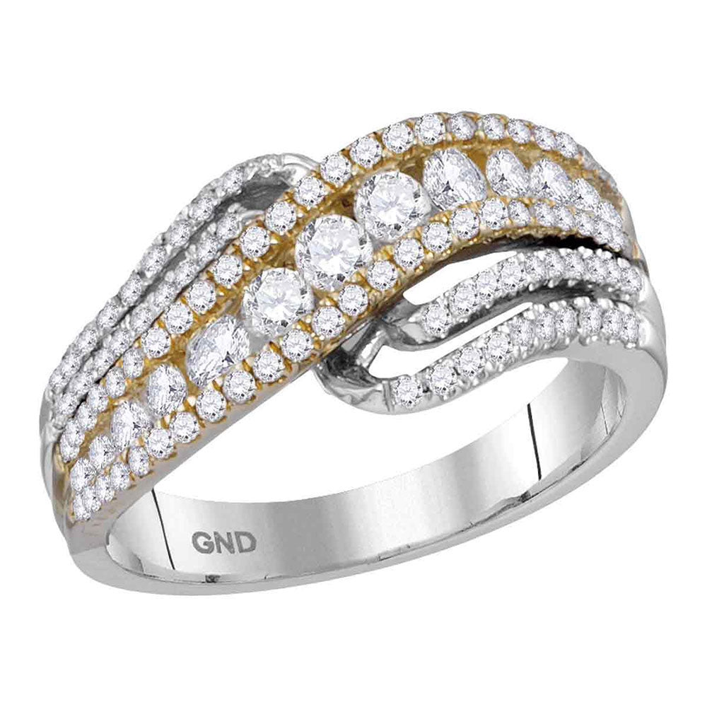14kt Two-tone White Yellow Gold Womens Round Diamond Crossover Band Ring 1 Cttw