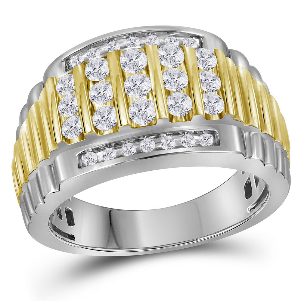 14kt Two-tone White Gold Mens Round Diamond Cluster Ring Band 1 Cttw