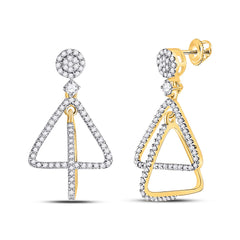 10kt Yellow Gold Womens Round Diamond Triangle Dangle Earrings 3/8 Cttw