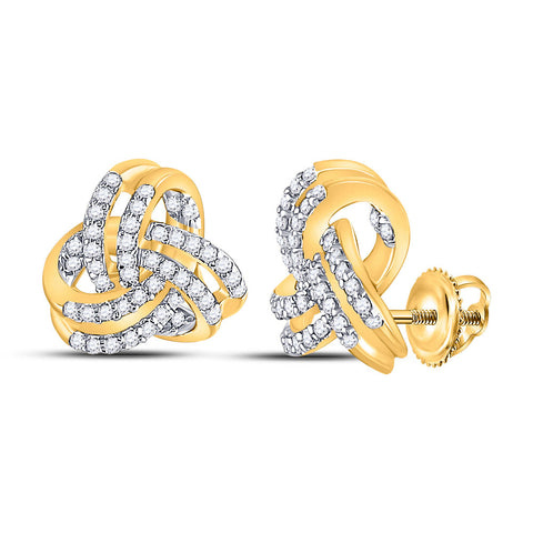 10kt Yellow Gold Womens Round Diamond Triquetra Trinity Fashion Earrings 1/3 Cttw