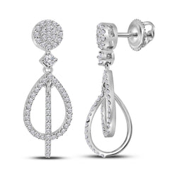 10kt White Gold Womens Round Diamond Double Teardrop Dangle Earrings 3/8 Cttw