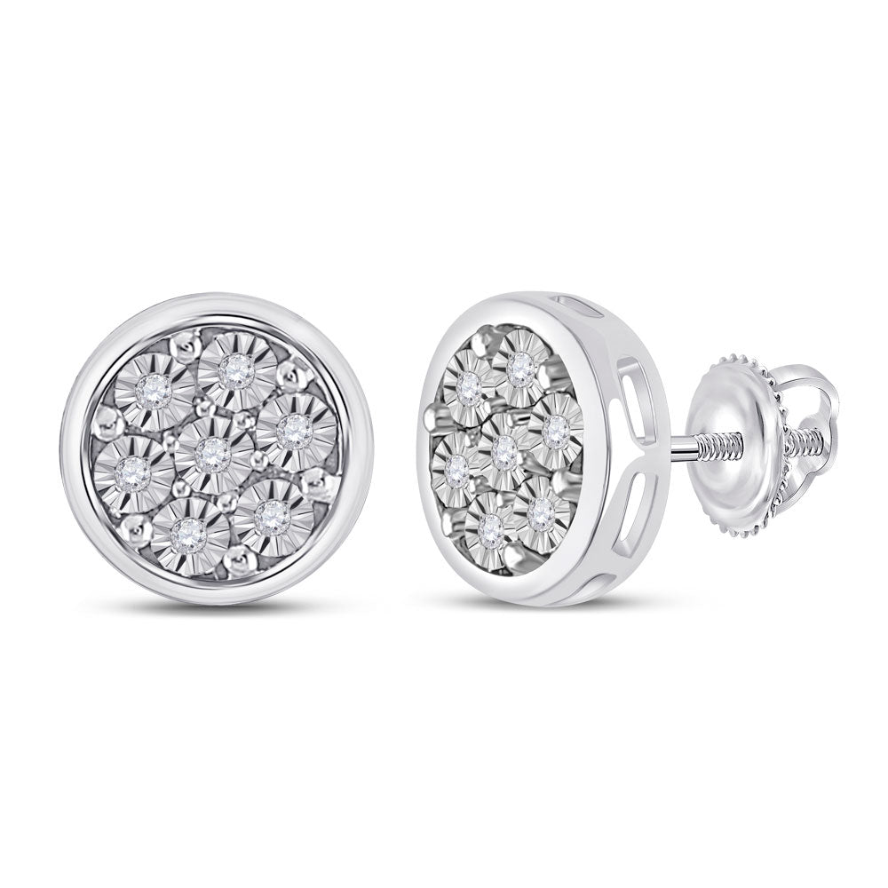 10kt White Gold Womens Round Diamond Circle Cluster Earrings 1/20 Cttw