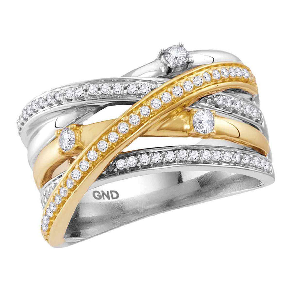 14kt Two-tone White Yellow Gold Womens Round Diamond Crossover Band Ring 1/2 Cttw