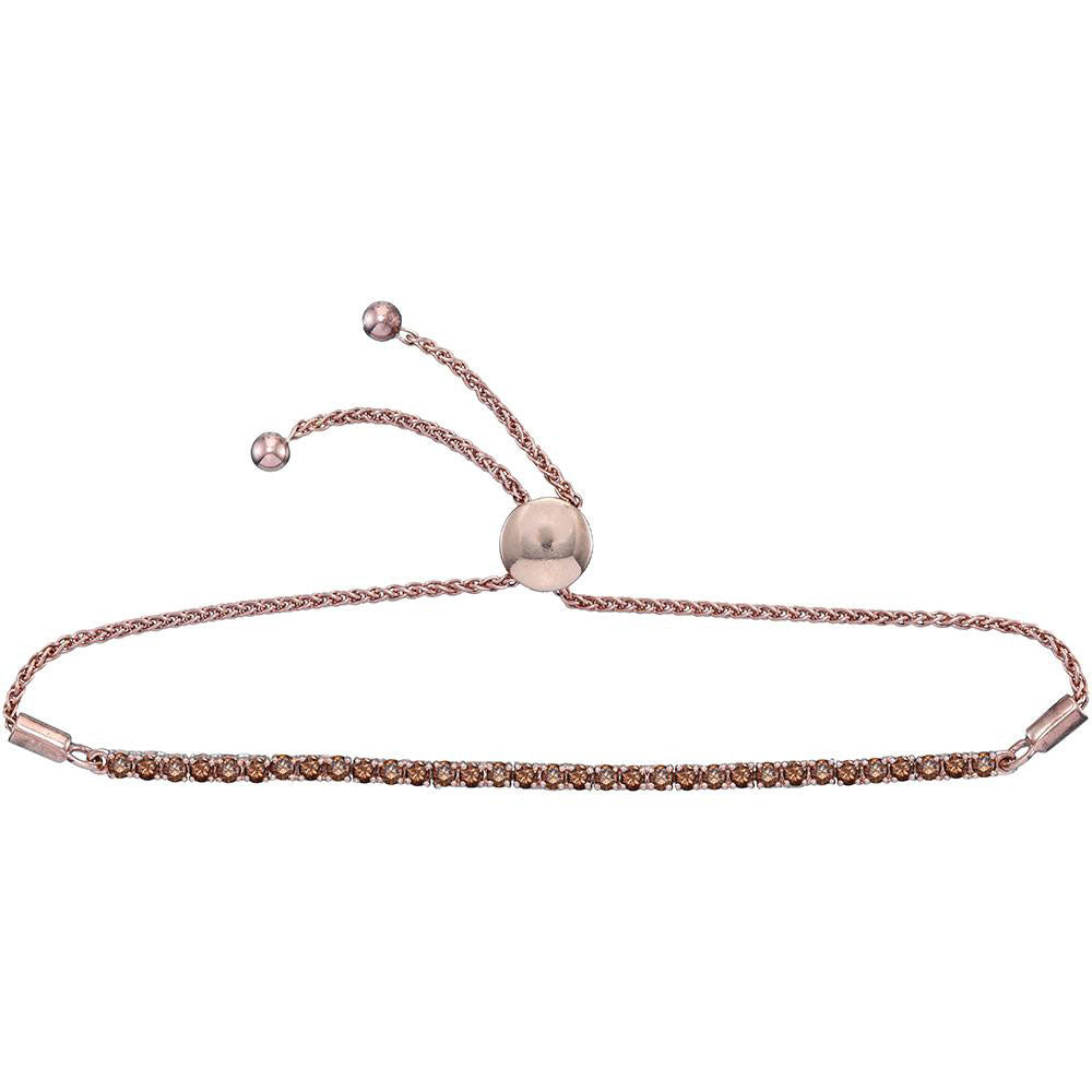 10kt Rose Gold Womens Round Natural Brown Diamond Bolo Bracelet 2 Cttw