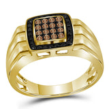 10kt Yellow Gold Mens Round Brown Diamond Square Ring 1/2 Cttw