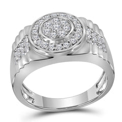 10kt White Gold Mens Round Diamond Ribbed Circle Cluster Ring 7/8 Cttw