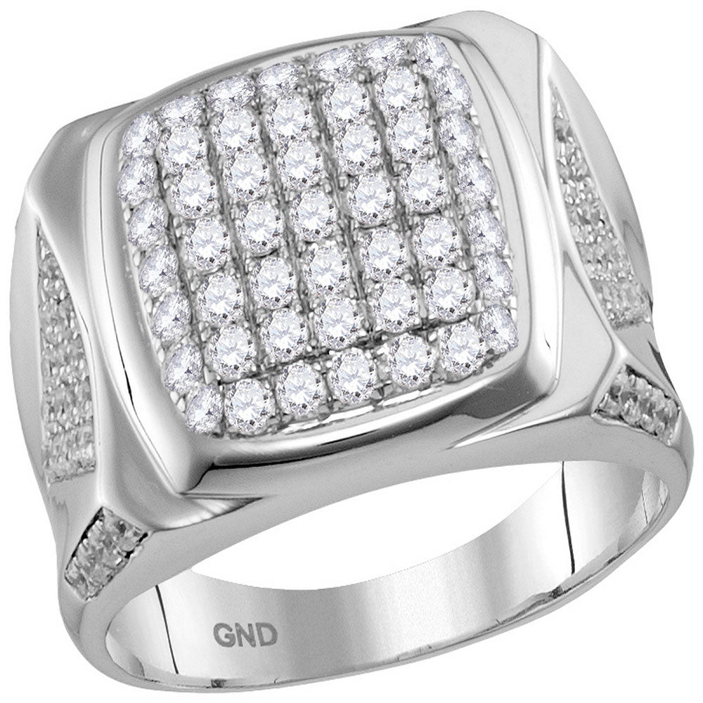 10kt White Gold Mens Round Diamond Square Cluster Ring 2 Cttw