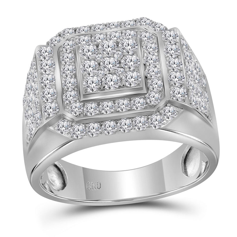 10kt White Gold Mens Round Diamond Square Frame Cluster Ring 2-1/2 Cttw