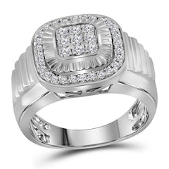 10kt White Gold Mens Round Diamond Square Ribbed Cluster Ring 3/4 Cttw