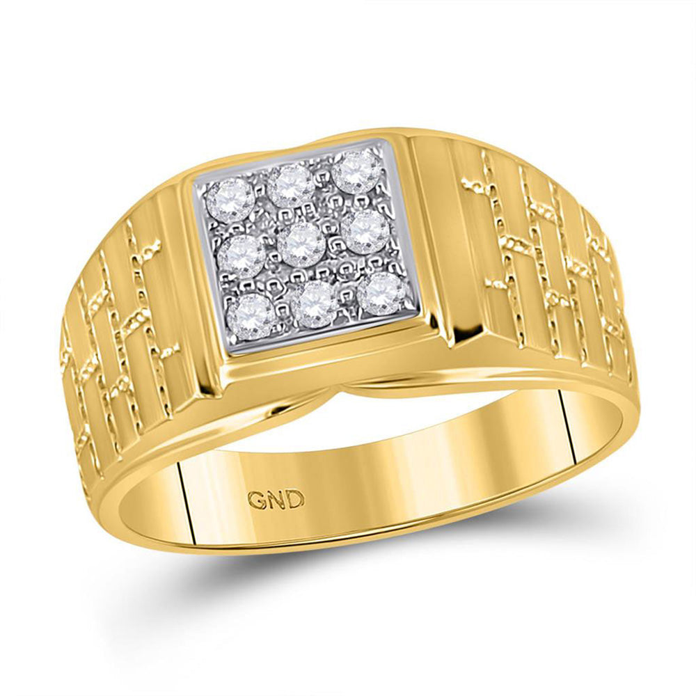 10kt Yellow Gold Mens Round Diamond Brick Square Ring 1/4 Cttw
