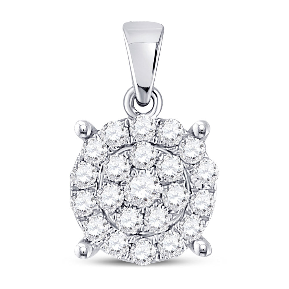 10kt White Gold Womens Round Diamond Cindys Dream Circle Cluster Pendant 1/2 Cttw