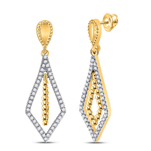 10kt Yellow Gold Womens Round Diamond Geometric Dangle Earrings 1/5 Cttw