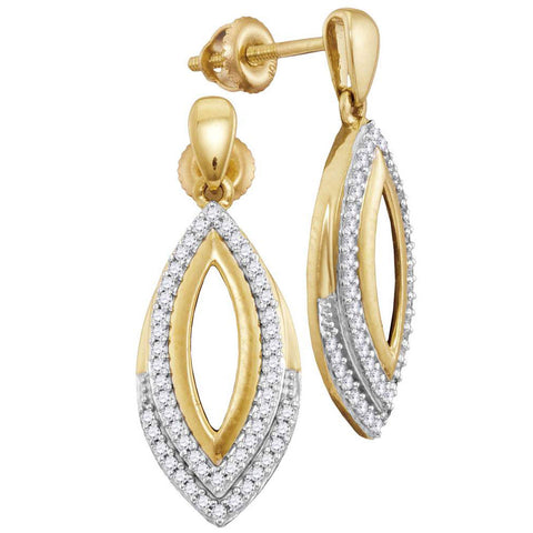 10kt Yellow Gold Womens Round Diamond Marquise Dangle Earrings 1/4 Cttw