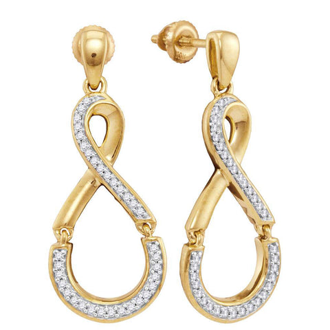 10kt Yellow Gold Womens Round Diamond Dangle Earrings 1/5 Cttw