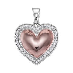 10kt White Rose-tone Gold Womens Round Diamond Framed Heart Pendant 1/5 Cttw