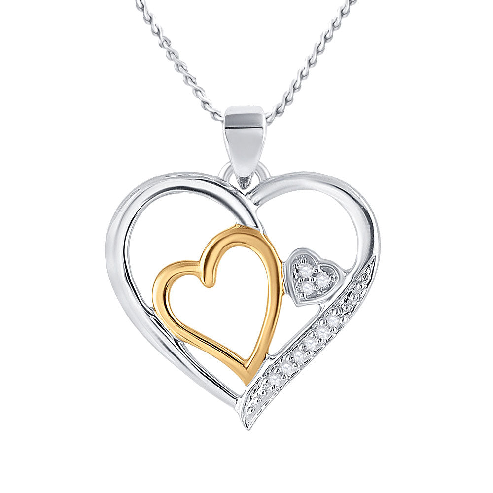 Two-tone Sterling Silver Womens Round Diamond Heart Pendant 1/20 Cttw