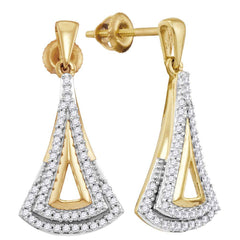 10kt Yellow Gold Womens Round Diamond Dangle Earrings 1/4 Cttw
