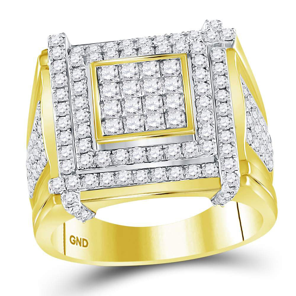 10kt Yellow Gold Mens Round Diamond Square Cluster Ring 2-5/8 Cttw