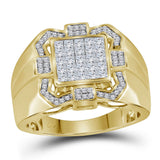 10kt Yellow Gold Mens Princess Diamond Octagon Cluster Ring 1 Cttw