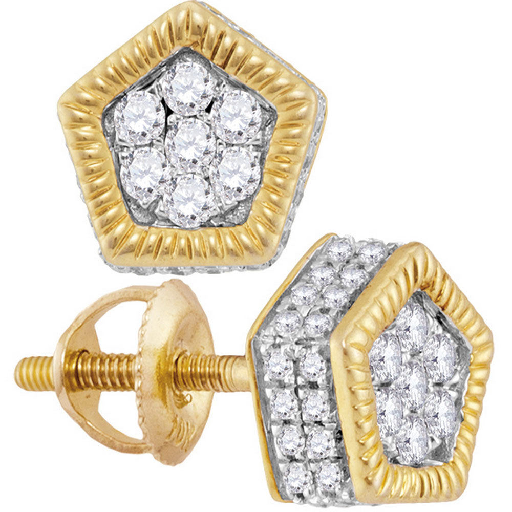 10kt Yellow Gold Mens Round Diamond Polygon Fluted Cluster Stud Earrings 1/2 Cttw
