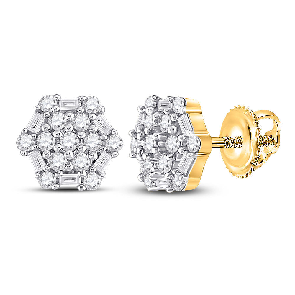 10kt Yellow Gold Womens Round Diamond Hexagon Cluster Earrings 1/3 Cttw