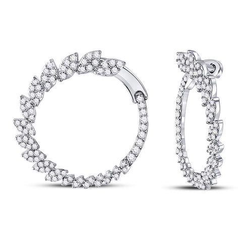 14kt White Gold Womens Round Diamond Fashion Hoop Earrings 1-1/2 Cttw