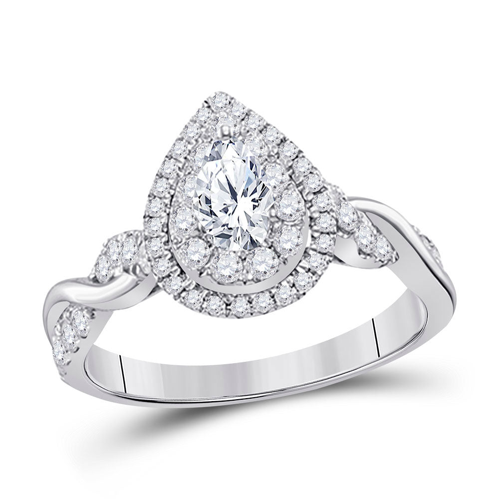14kt White Gold Pear Diamond Solitaire Bridal Wedding Engagement Ring 1 Cttw