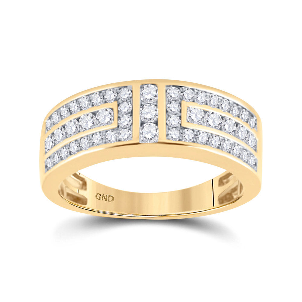 14kt Yellow Gold Mens Round Diamond Symmetrical Wedding Band Ring 1 Cttw