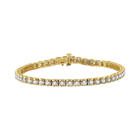 14kt Yellow Gold Womens Round Diamond Studded Tennis Bracelet 1-1/2 Cttw