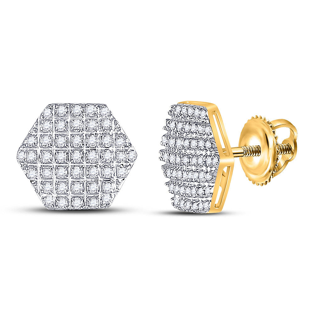 10kt Yellow Gold Mens Round Diamond Hexagon Earrings 1/5 Cttw