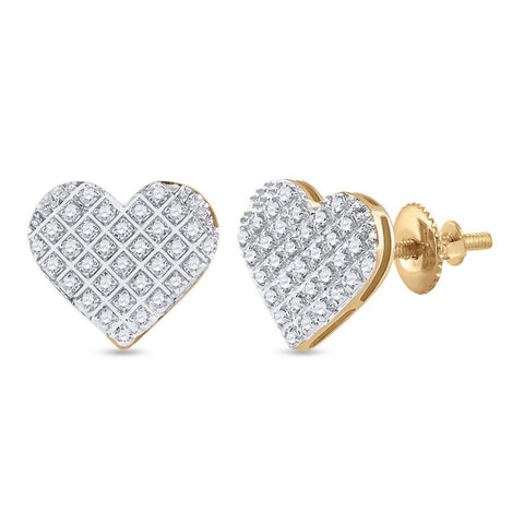 10kt Yellow Gold Womens Round Diamond Heart Earrings 1/5 Cttw