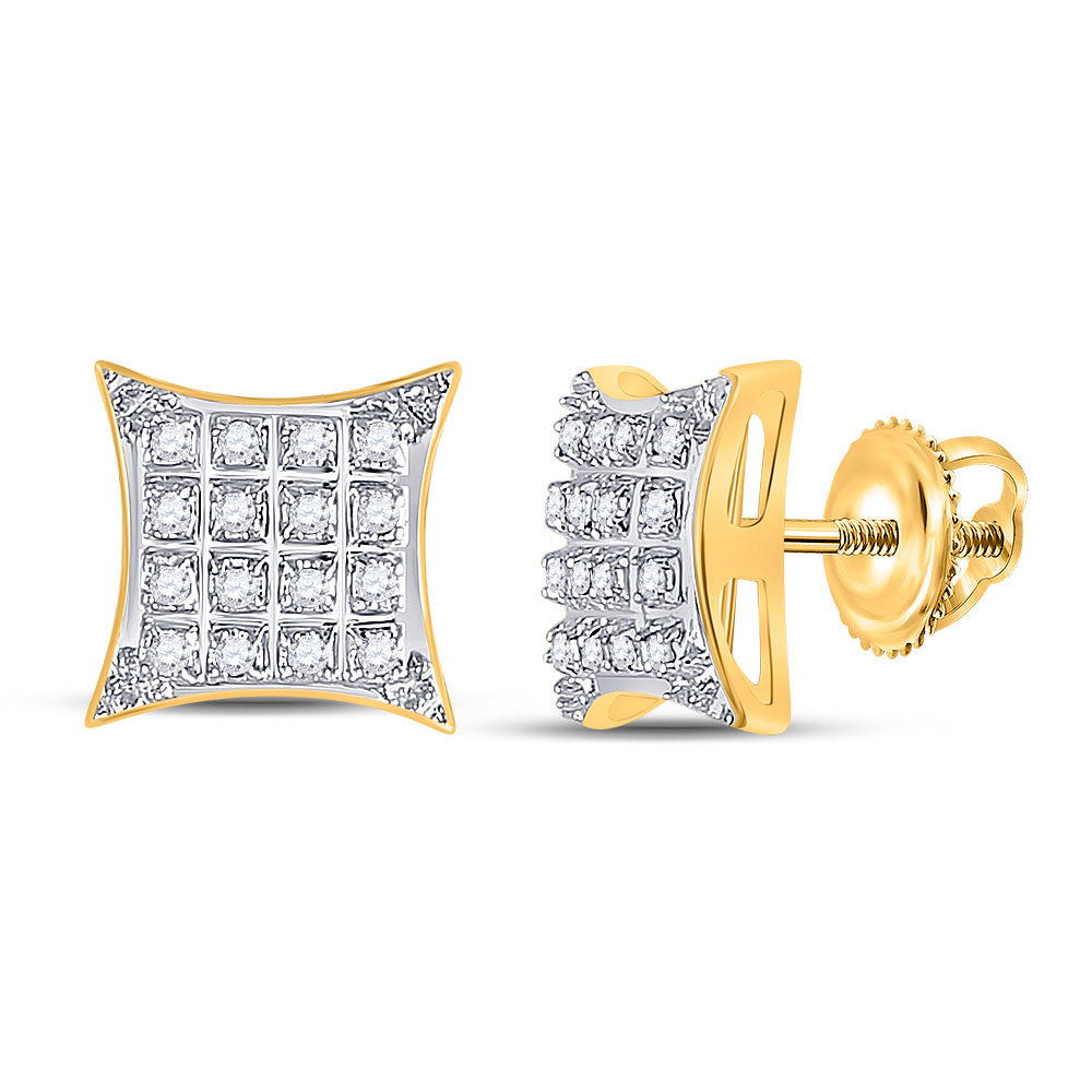 10kt Yellow Gold Womens Round Diamond Square Kite Stud Earrings 1/10 Cttw