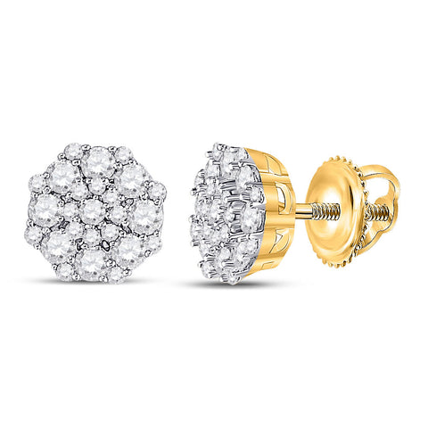 14kt Yellow Gold Womens Round Diamond Octagon Cluster Earrings 5/8 Cttw