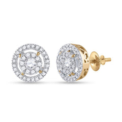 14kt Yellow Gold Womens Round Diamond Cluster Earrings 1/2 Cttw