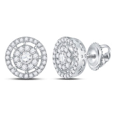 14kt White Gold Womens Round Diamond Cluster Earrings 1 Cttw