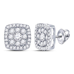 14kt White Gold Womens Round Diamond Square Cluster Earrings 1-1/4 Cttw