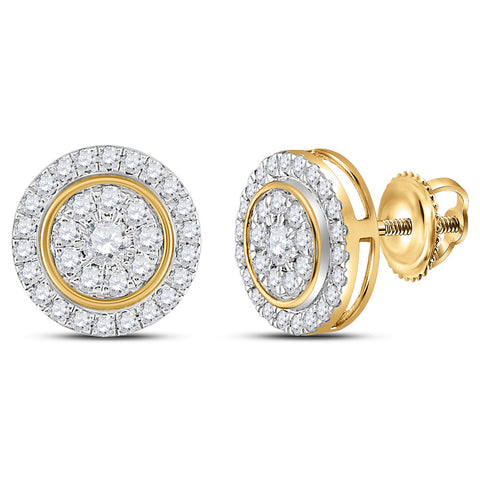 14kt Yellow Gold Womens Round Diamond Circle Cluster Earrings 1 Cttw