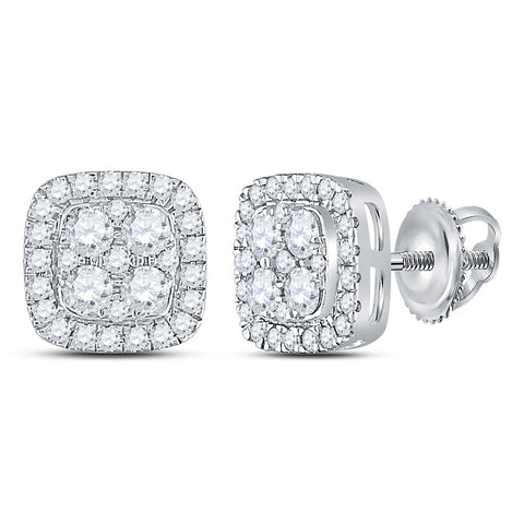 14kt White Gold Womens Round Diamond Square Cluster Earrings 7/8 Cttw
