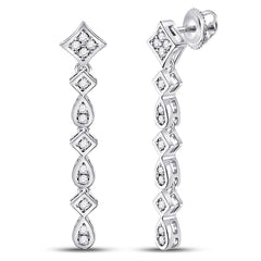 14kt White Gold Womens Round Diamond Square Teardrop Dangle Earrings 1/5 Cttw