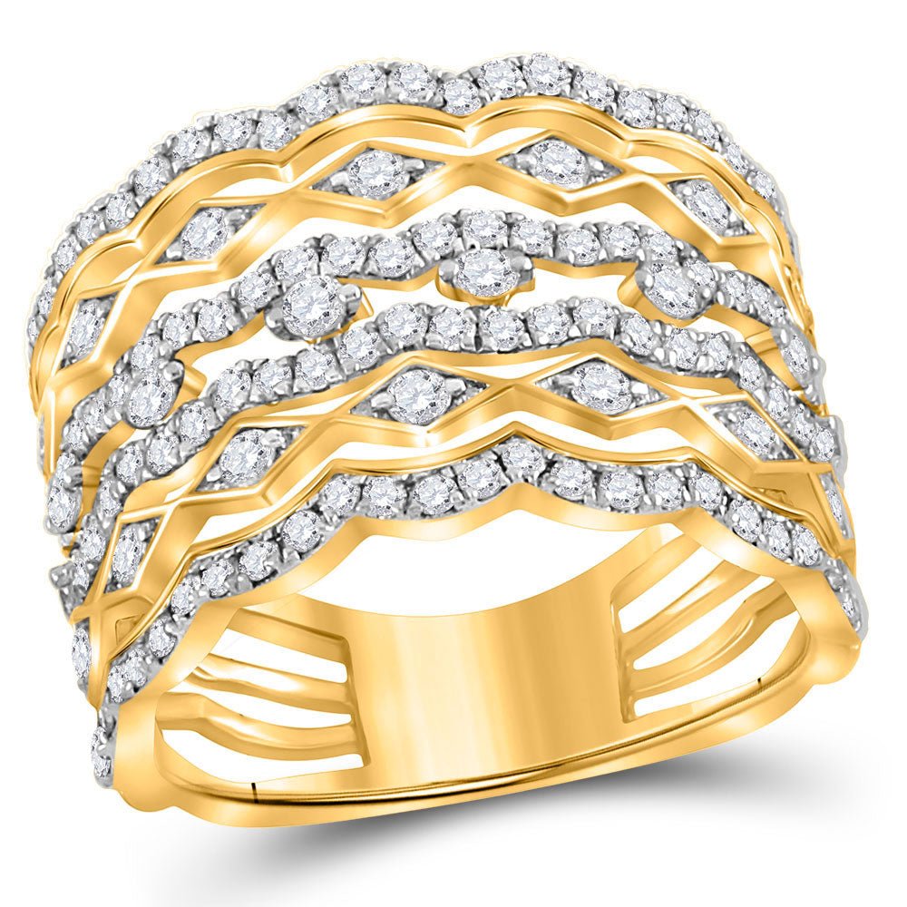 14kt Yellow Gold Womens Round Diamond Modern Geometric Band Ring 1-1/3 Cttw