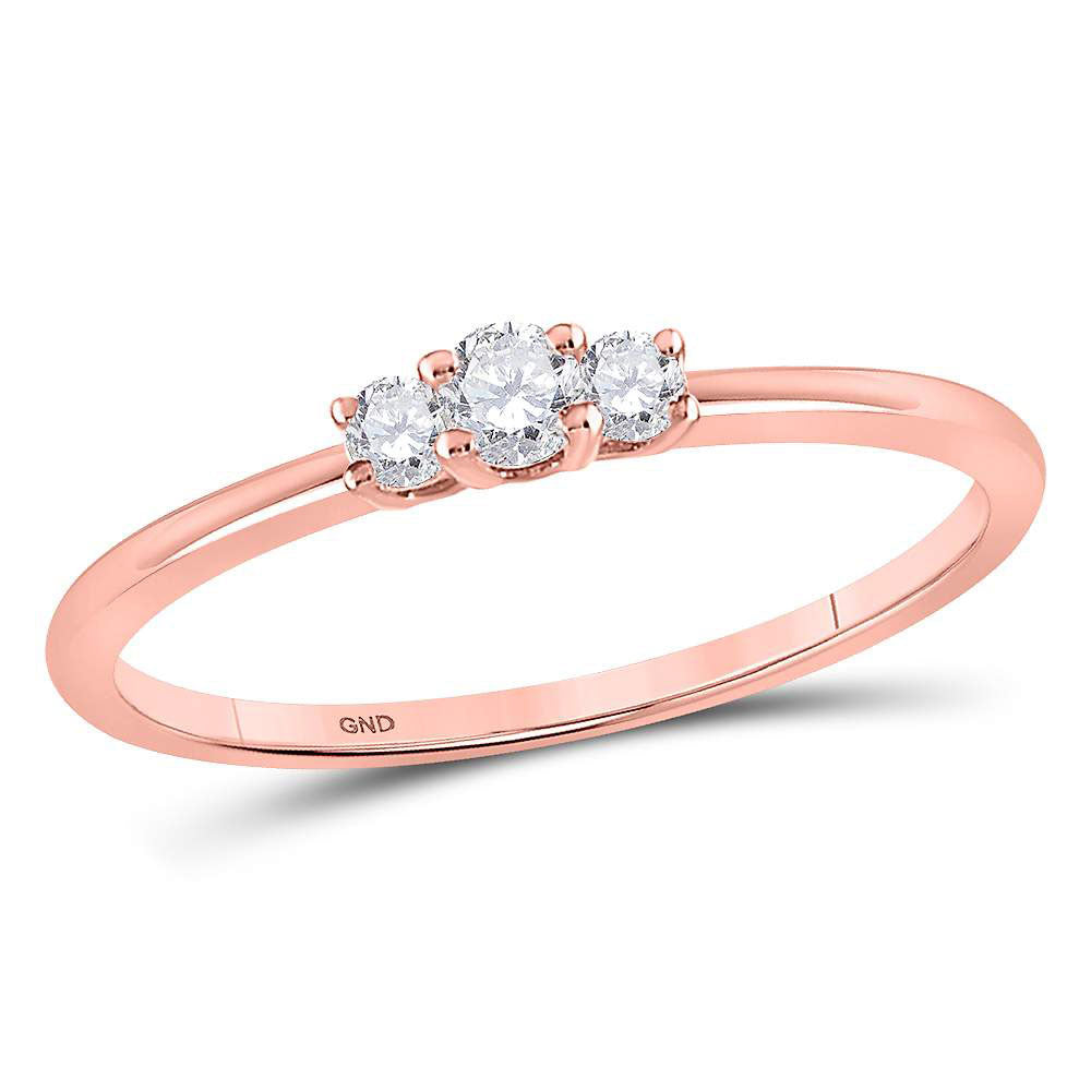10kt Rose Gold Womens Round Diamond 3-stone Promise Ring 1/6 Cttw