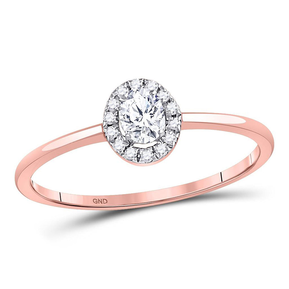 10kt Rose Gold Womens Oval Diamond Stackable Solitaire Ring 1/3 Cttw