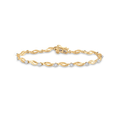 10kt Yellow Gold Womens Round Diamond Twist Link Bracelet 1/4 Cttw