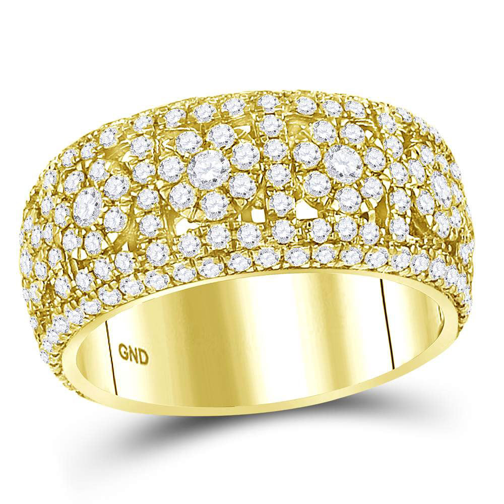 14kt Yellow Gold Mens Round Diamond Luxury Cluster Band Ring 2-1/2 Cttw