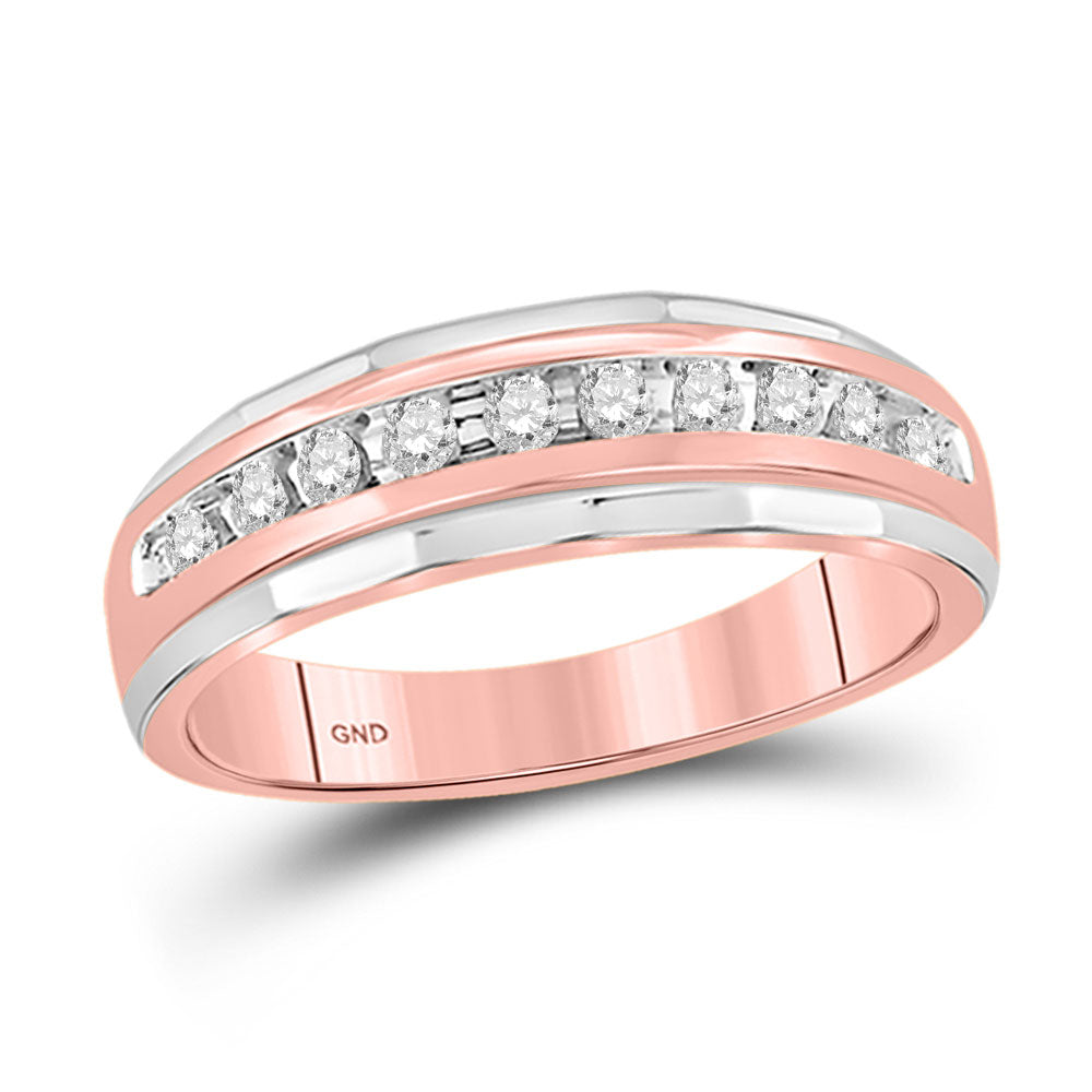 10kt Rose Gold Mens Round Diamond Wedding Band Ring 1/4 Cttw