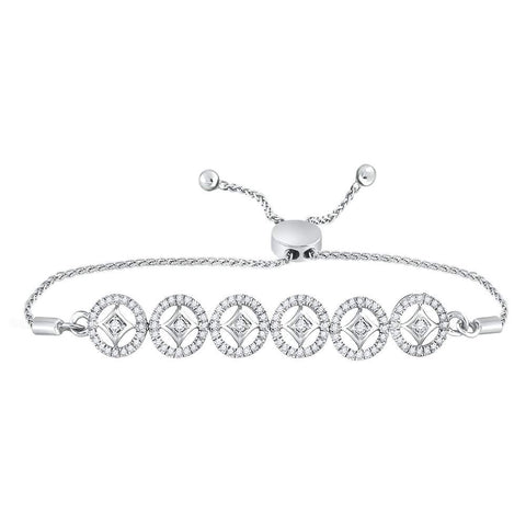 10kt White Gold Womens Round Diamond Joined Circles Bolo Bracelet 1/3 Cttw