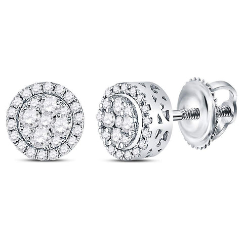 14kt White Gold Womens Round Diamond Cluster Stud Earrings 1/2 Cttw
