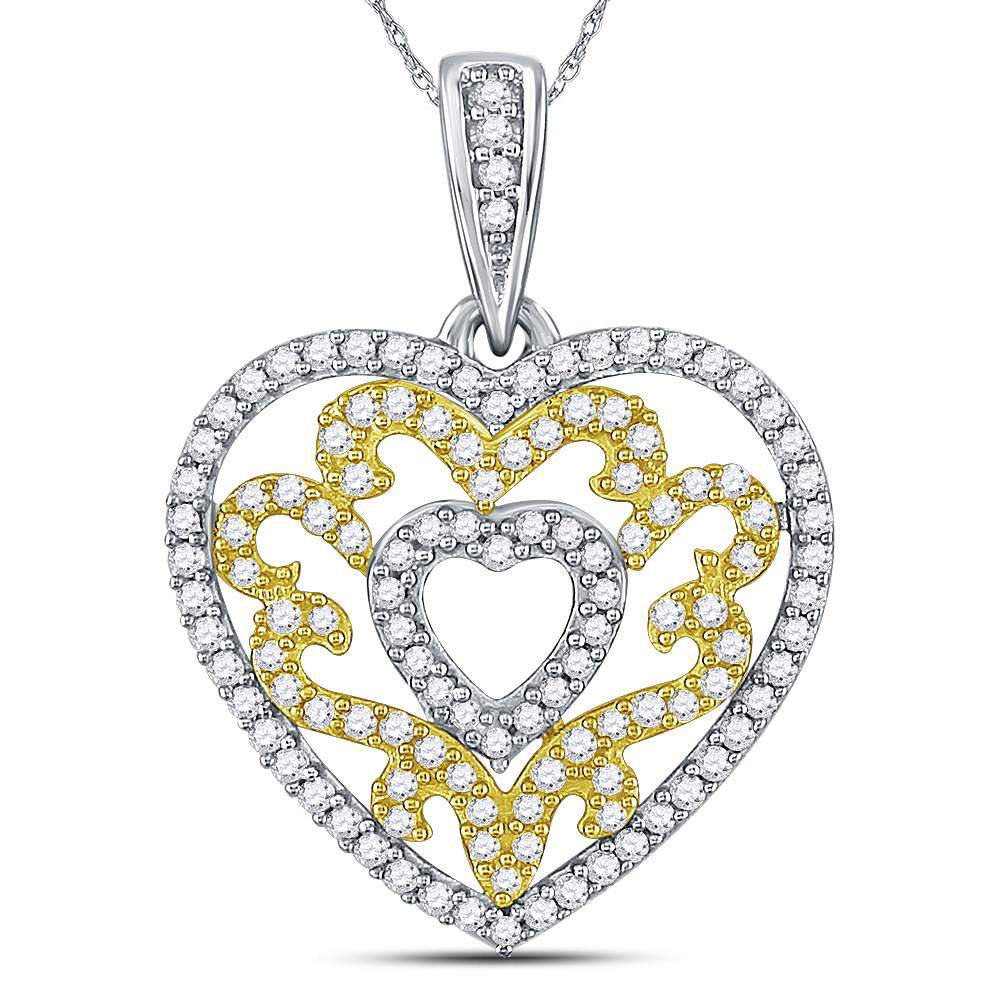 10kt Yellow Gold Womens Round Diamond Nested Curl Heart Pendant 1/2 Cttw