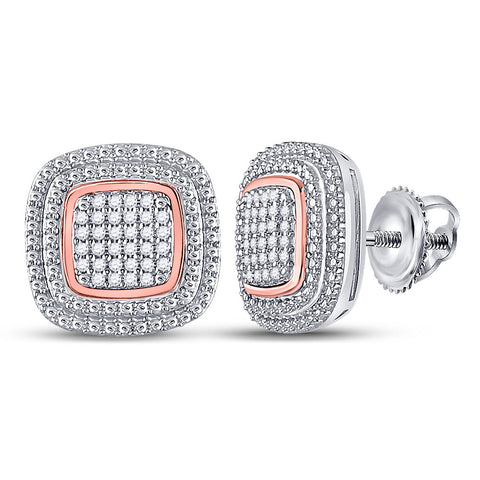 10kt Two-tone Gold Womens Round Diamond Square Cluster Earrings 1/6 Cttw
