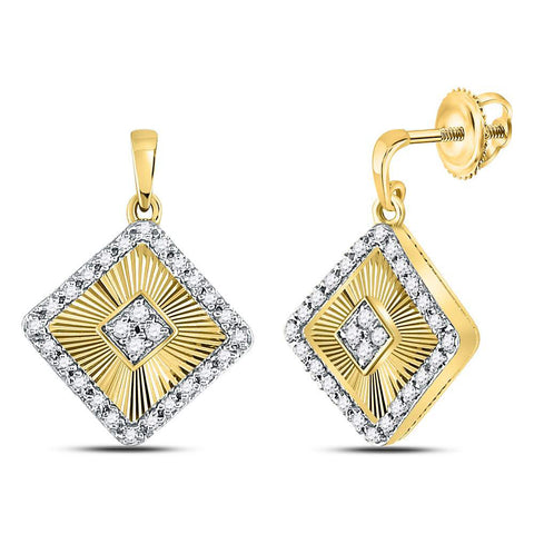 10kt Yellow Gold Womens Round Diamond Diagonal Square Dangle Earrings 1/5 Cttw